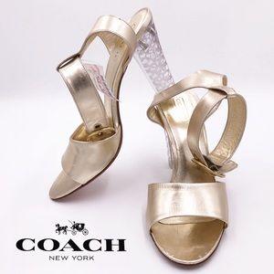 COACH A3942 Brandey Gold Clear Logo Heels
